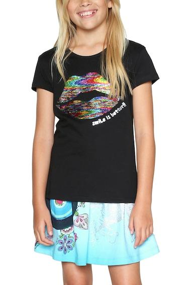DESIGUAL Kerek nyakú póló kétoldalú flitterekkel Lány
