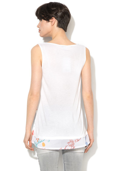 DESIGUAL Ginger top átlapolt dizájnnal, Fehér, női