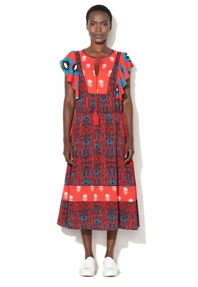 DESIGUAL Sigrid paisley mintás midi ruha fodros ujjakkal női
