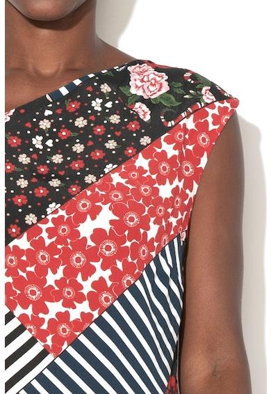 DESIGUAL Rochie scurta cu model floral, dungi si terminatie asimetrica Rafael Femei