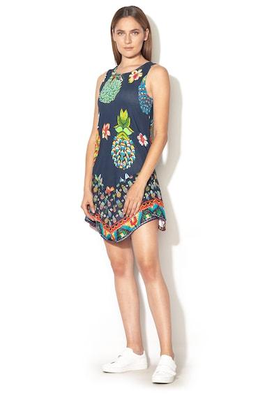 DESIGUAL Rouses bővülő fazonú mintás ruha aszimmetrikus alsó szegéllyel női