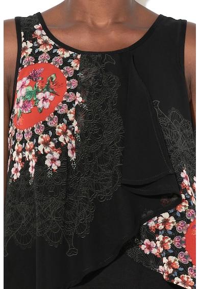 DESIGUAL Lucile ujjatlan blúz átlapolt dizájnnal női