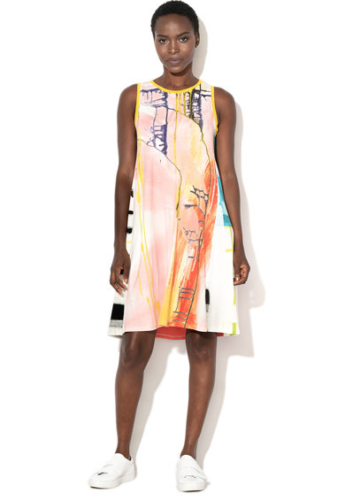 DESIGUAL Rochie dreapta fara maneci, cu model abstract Felipe Femei
