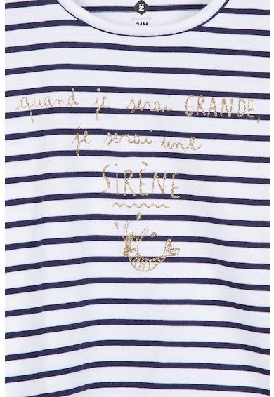 Z Kids Раирана тениска с текстова щампа Момичета