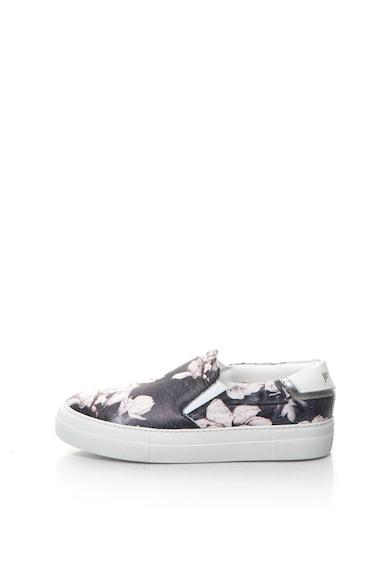 JUST CAVALLI Pantofi slip-on de piele cu imprimeu floral si model de piele de reptila Femei