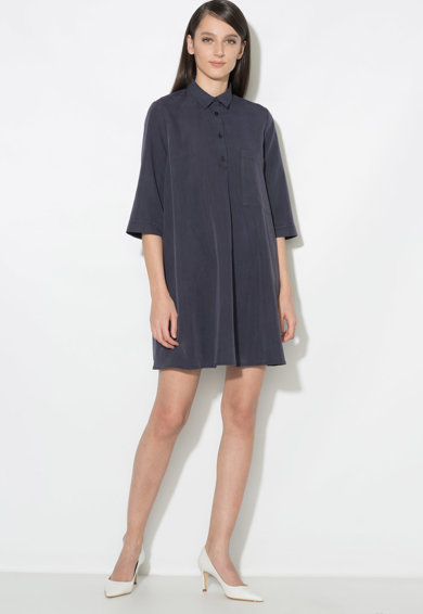Zee Lane Collection Rochie tip camasa evazata, cu buzunar aplicat pe piept Femei