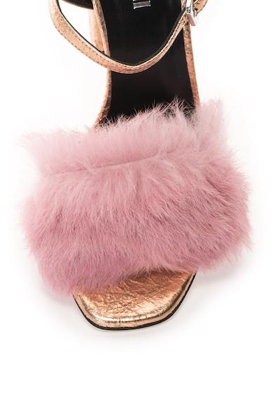Pollini . Sandale de piele cu garnituri din blana de iepure Femei