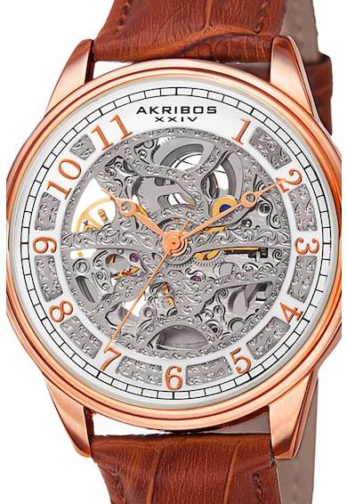 AKRIBOS XXIV Ceas automatic cu o curea de piele 43 Barbati