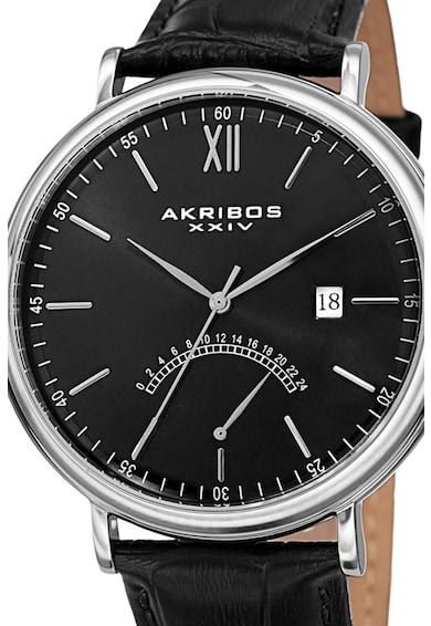 AKRIBOS XXIV Ceas analog rotund cu o curea de piele 42 Barbati
