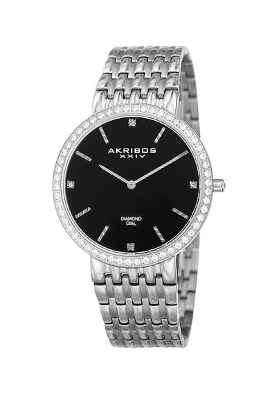 AKRIBOS XXIV Ceas rotund cu diamante pe cadran Barbati