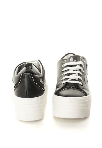 Love Moschino Pantofi sport flatform din piele sintetica cu nituri Femei