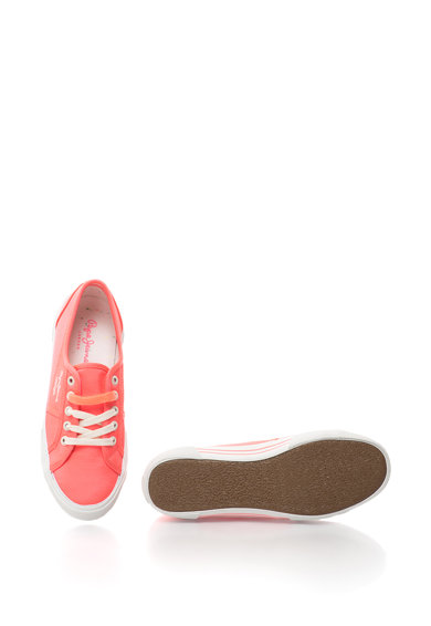 Pepe Jeans London Pantofi sport din satin cu broderie logo Aberlady Femei