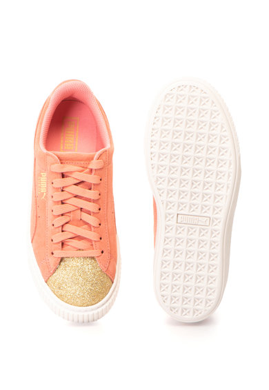 Puma Pantofi sport de piele intoarsa cu insertii stralucitoare si platforma Glam Fete