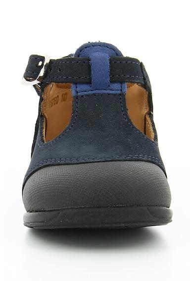 Aster kids Pantofi cu bareta in forma de T si garnituri de piele nabuc Oban Baieti
