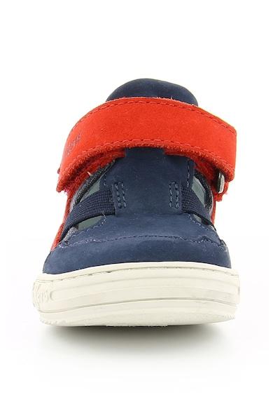 Kickers kids Pantofi sport de piele si panza cu bareta in forma de T JASON Baieti