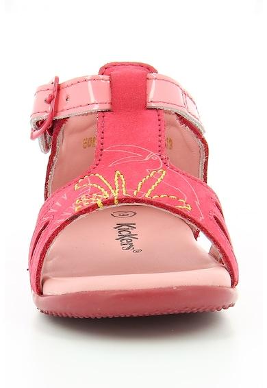 Kickers kids Sandale de piele nabuc cu cusaturi decorative Brio Fete