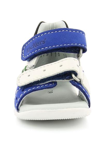 Kickers kids Sandale de piele nabuc cu benzi velcro si cusaturi contrastante Boping Baieti