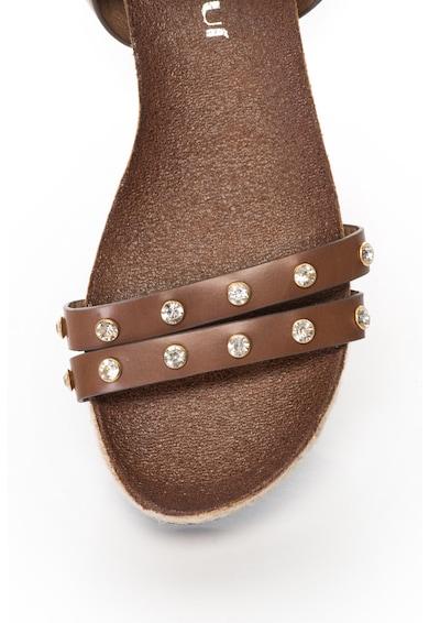 Oakoui Sandale wedge de piele sintetica, cu strasuri Bacardi Femei