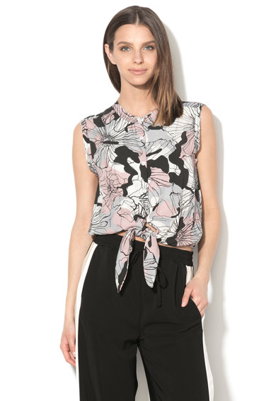 Fornarina Bluza cu model floral abstract, cu un cordon in talie Tiffany Femei