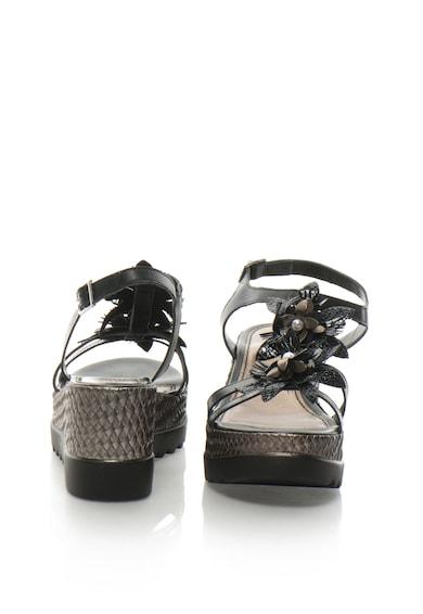 Zee Lane Collection Sandale wedge de piele lacuita cu aplicatii florale Femei