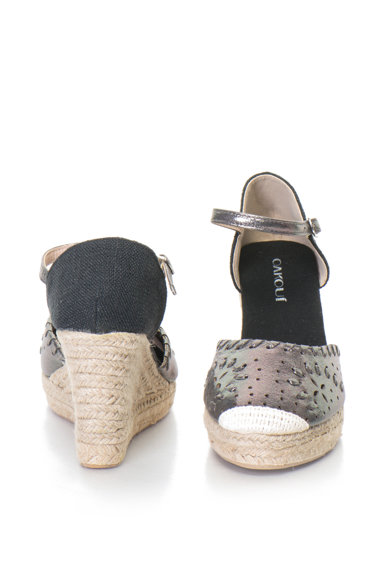 Oakoui Sandale wedge tip espadrile cu aspect metalizat Britta Femei
