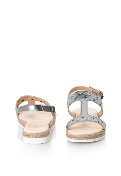 Oakoui Sandale de piele cu bareta in forma de T si aspect metalizat Femei