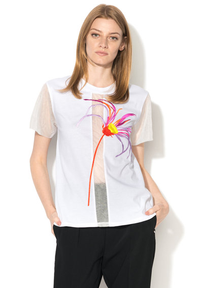 Sportmax Code Cambusa póló hímzett részlettel&hálós betétekkel női