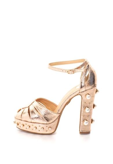 Buffalo Sandale cu platforma, bareta pe glezna si aspect metalizat decorate cu nituri si perle sintetice Femei