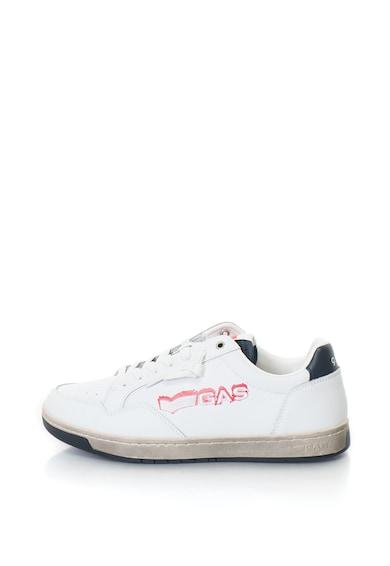 GAS Pantofi sport de piele, cu logo brodat Team Base Barbati