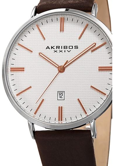 AKRIBOS XXIV Кръгъл часовник с кожена каишка Мъже