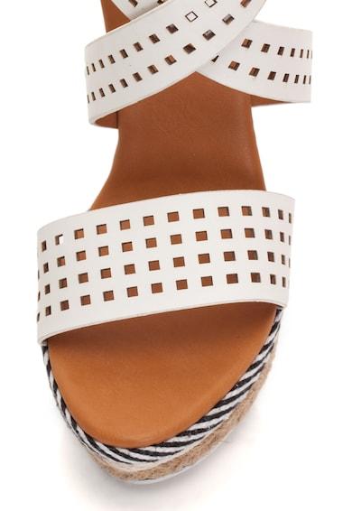 Enrico Coveri Sandale wedge de piele sintetica, cu detalii perforate Femei