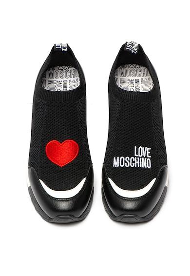 Love Moschino Pantofi sport slip-on, cu aplicatie in forma de inima Femei