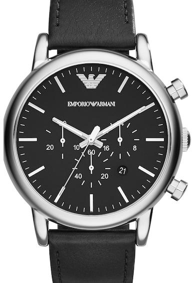 Emporio Armani Овален часовник с хронометър и кожена каишка Мъже