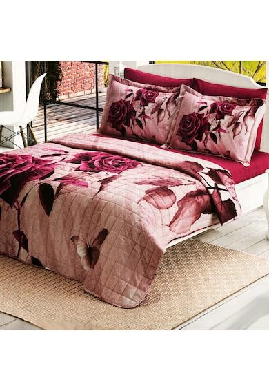 Kotonia Home Lenjerie de pat si cuvertura matlasata  200x220 cm, 100% bumbac, floral Femei