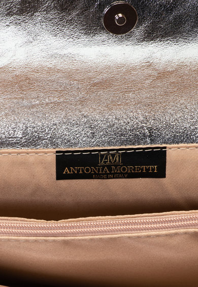 Antonia Moretti Geanta plic de piele cu bareta din lant, Argintiu Femei