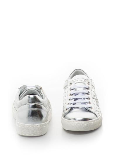 John Galliano Fémes hatású bőr sneakers cipő perforált dizájnnal női
