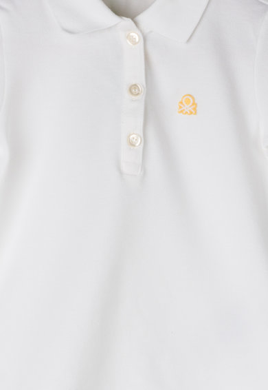 United Colors of Benetton Tricou polo din pique, cu aplicatie logo Fete