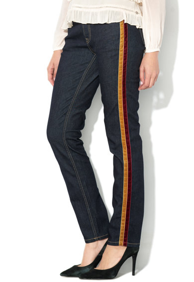 Pepe Jeans London Straight fit farmernadrág bársonyos oldalsávval női