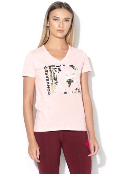 Converse Тениска с шпиц деколте и лого Жени