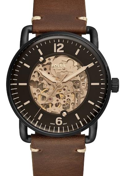 Fossil Автоматичен часовник The Commuter с кожена каишка Мъже