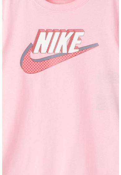 Nike Тениска с асиметричен подгъв и лого Момичета