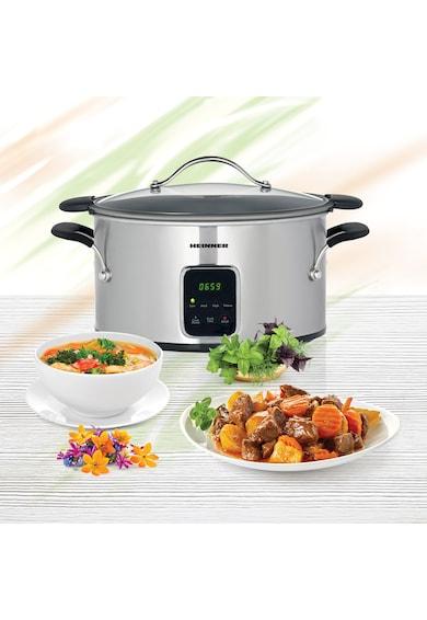 Heinner Slow Cooker  , 6 L, 185 W, Control Electronic, 3 Setari temperatura, Timer, Inox Femei