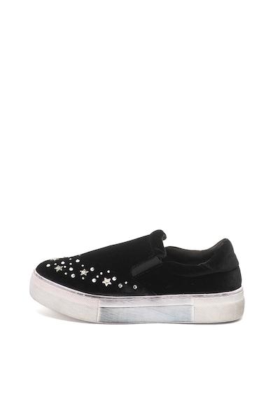 Oakoui Pantofi slip-on flatform decorati cu strasuri Eva Femei
