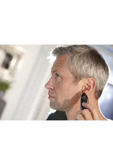 Philips Trimmer pentru nas/urechi  /16, baterii, otel inoxidabil, 2 piepteni pentru sprancene, Negru/Albastru Barbati