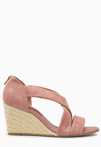NEXT Sandale wedge tip espadrile, de piele intoarsa Femei