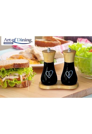 Art of dining by HEINNER Set 2 rasnite sare/piper Heinner, 15 cm + Suport Femei