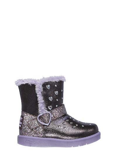 Skechers Cizme scurte cu LED-uri si aspect metalizat Twinkle Toes Fete