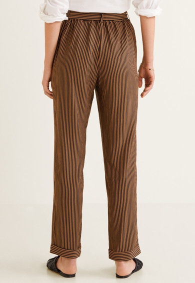 Mango Pantaloni cu model in dungi si cordon Femei