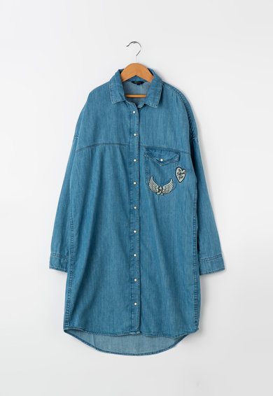 Pepe Jeans London Рокля тип риза Lida от шамбре Момичета
