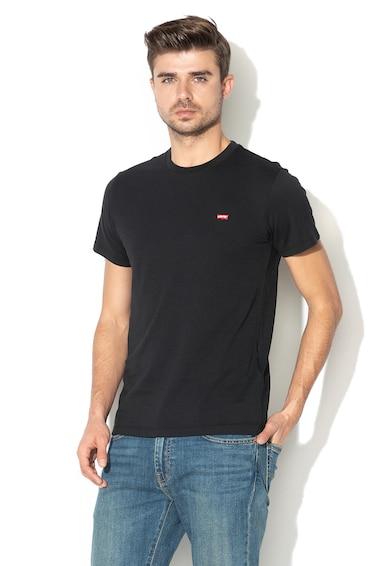 Levi's Памучна тениска с бродирано лого, Черен, Мъже